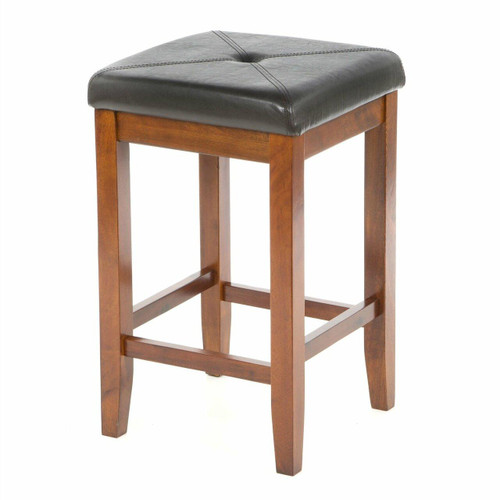 FastFurnishings Set of 2 - 24-inch High Cherry Bar Stools w/ Cushion Faux Leather Seat