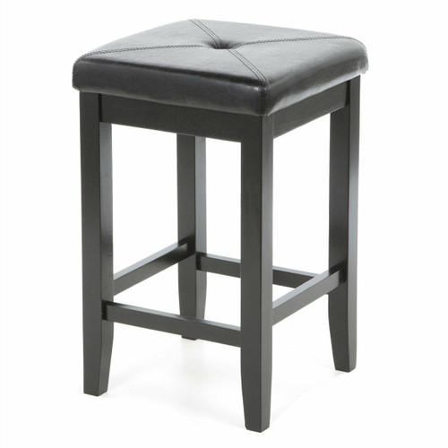 FastFurnishings Set of 2 - Black Bar Stools 24-inch High w/ Cushion Faux Leather Seat