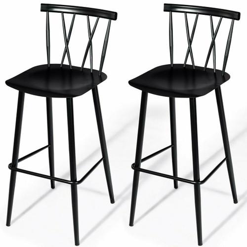 FastFurnishings Set of 2 Black Steel Bar Height Barstool Dining Chairs