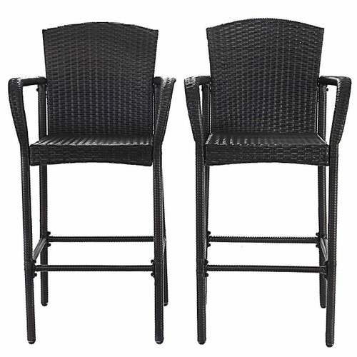 FastFurnishings Set of 2 47-inch Bar Height Brown Rattan Barstool Chairs
