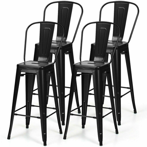 FastFurnishings Set of 4 Black 30 Height High Back Metal Industrial Bar Stools