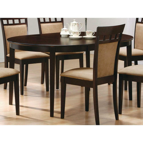 FastFurnishings Contemporary Oval Dining Table in Dark Brown Cappuccino Wood Finish