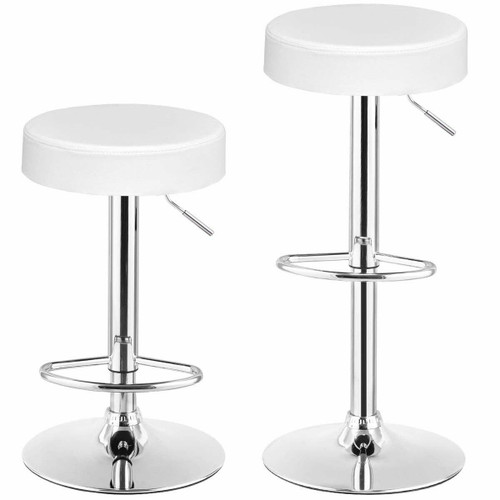 FastFurnishings Set of 2 White Adjustable Round Faux Leather Swivel Bar Stools