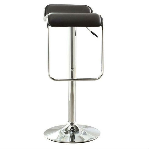 FastFurnishings Modern Adjustable Height Bar Stool with Brown Faux Leather Swivel Seat