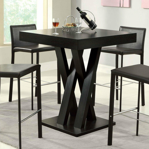 FastFurnishings Modern 40-inch High Square Dining Table in Dark Cappuccino Finish