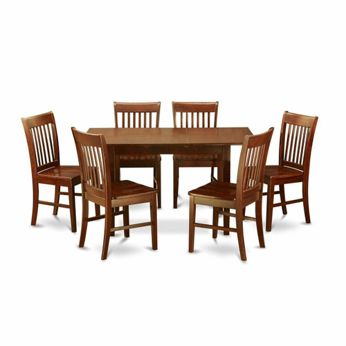 FastFurnishings Mission Style 7-piece Dining Set in Mahogany Wood Finish