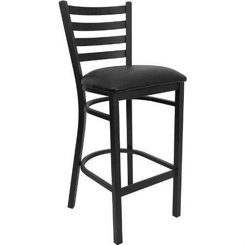 FastFurnishings Black Metal Ladder-Back Restaurant Style Bar Stool