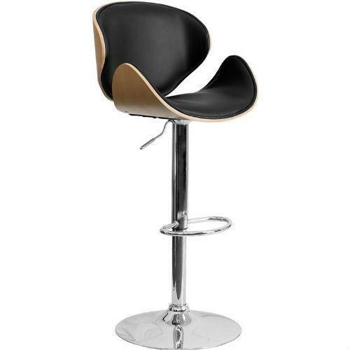 FastFurnishings Modern Adjustable Height Barstool with Curved Black Vinyl Seat and Back