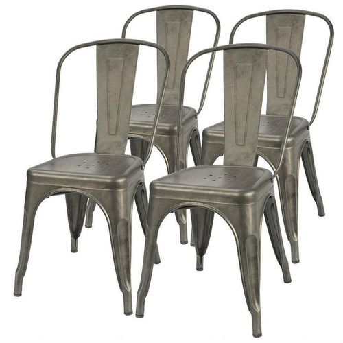FastFurnishings Set of 4 - Stackable Modern Cafe Bistro Dining Side Chair in Gun Metal Finish