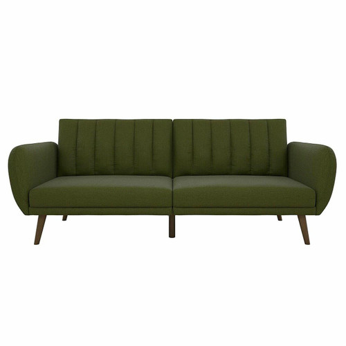 FastFurnishings Green Linen Upholstered Futon Sofa Bed with Mid-Century Style Wooden Legs