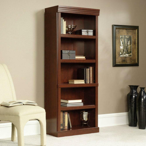 FastFurnishings 71-inch High 5-Shelf Wooden Bookcase in Cherry Finish