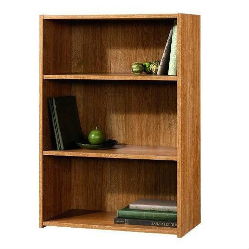 FastFurnishings Modern Oak Finish 3-Shelf Bookcase with 2 Adjustable Shelves - Made in USA