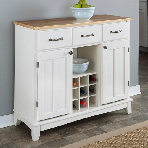 FastFurnishings Natural Wood Top Kitchen Island Sideboard Cabinet Wine Rack in White