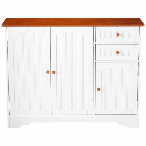 FastFurnishings White Wood Sideboard Buffet Cabinet with Walnut Finish Top and Knobs