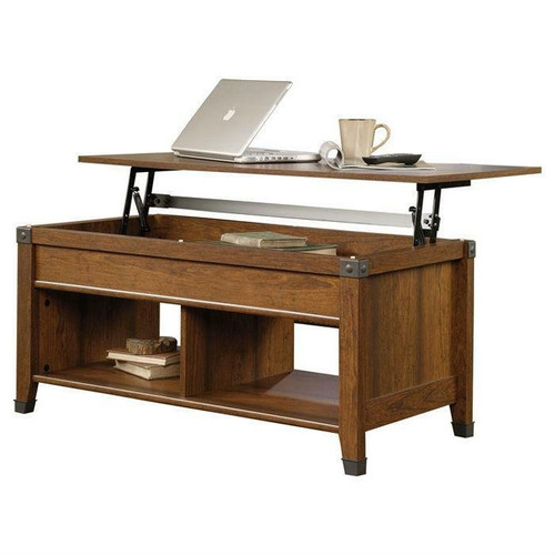 FastFurnishings Lift-Top Coffee Table in Cherry Wood Finish