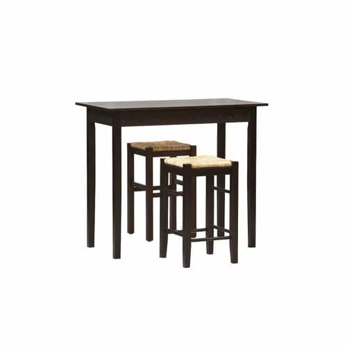 FastFurnishings 3 Piece Espresso Dining Set with Table and 2 Backless Stools