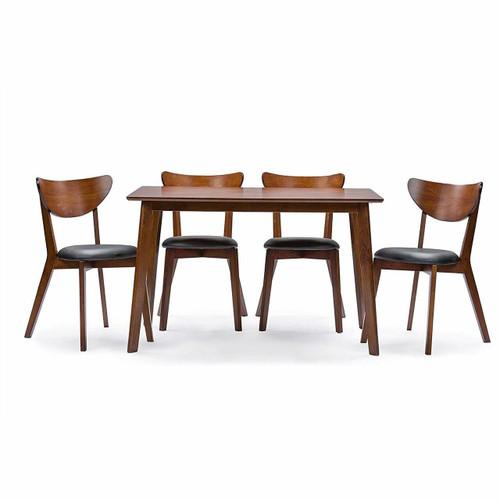 FastFurnishings Modern Mid-Century Style 5-Piece Dining Set in Dark Brown Walnut Finish