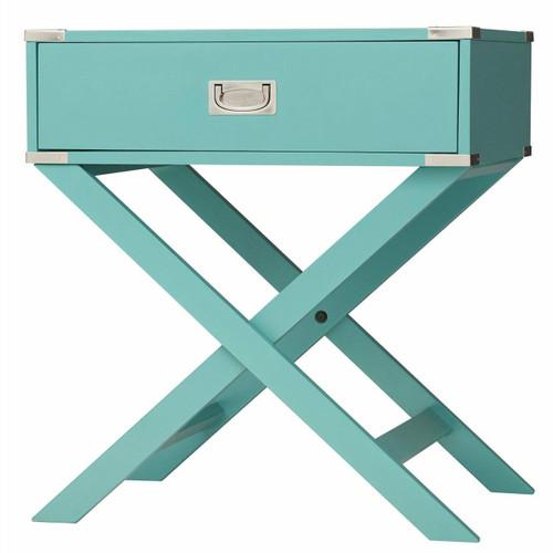 FastFurnishings Marine Green Turquoise 1-Drawer Modern End Table Nightstand