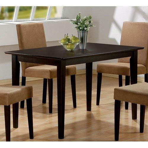 FastFurnishings Casual Rectangular Dining Table in Dark Brown Cappuccino Wood Finish