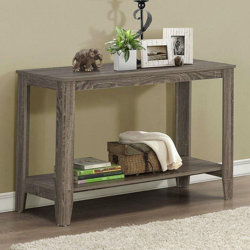 FastFurnishings Sofa Table Console Table in Dark Taupe Wood Finish