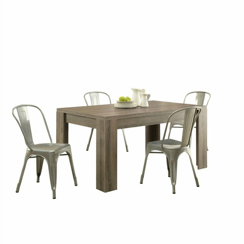 FastFurnishings Modern Block Leg Rectangular Dining Table in Dark Taupe Wood Finish