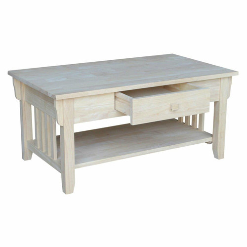 FastFurnishings Unfinished Solid Wood Coffee Table Drawer and Shelf