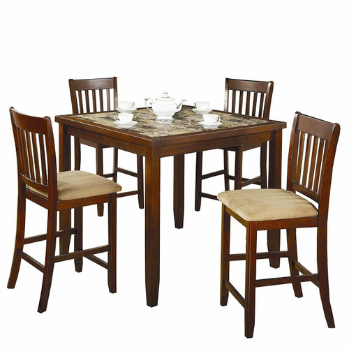 FastFurnishings Casual 5-Piece Dining Set with Microfiber Padded Counter Height Stools