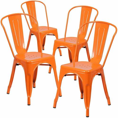 FastFurnishings Set of 4 Outdoor Indoor Orange Metal Stacking Bistro Dining Chairs