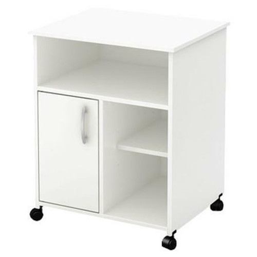 FastFurnishings Modern Home Office Printer Stand Cart with Casters in White