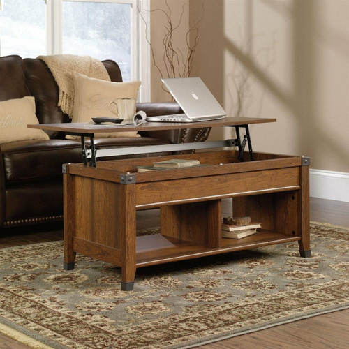 FastFurnishings Lift-Top Coffee Table in Washington Cherry Finish