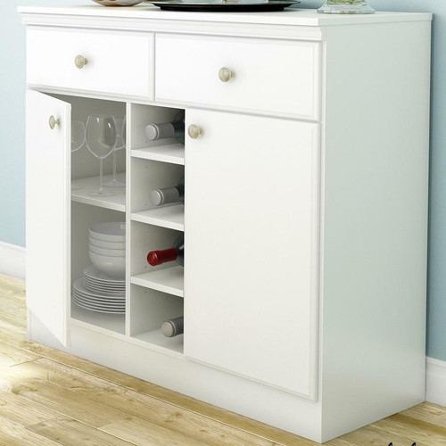 FastFurnishings White Dining Room Sideboard Buffet Console Table with 2 Drawers