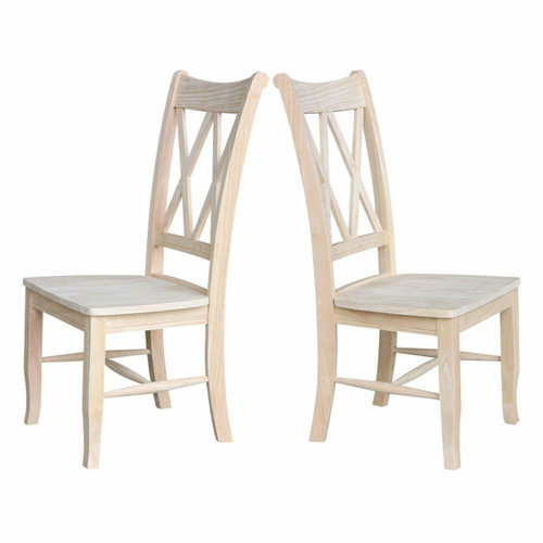 FastFurnishings Set of 2 - Traditional Unfinished Wood Dining Chairs