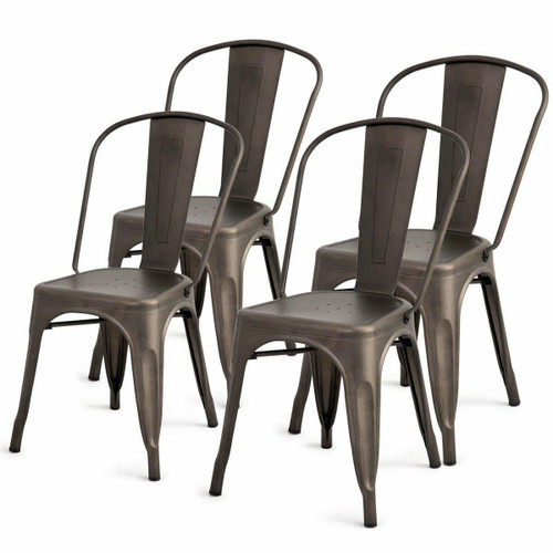FastFurnishings Set of 4 Indoor Outdoor Metal Stackable Bistro Dining Chairs in Copper Finish