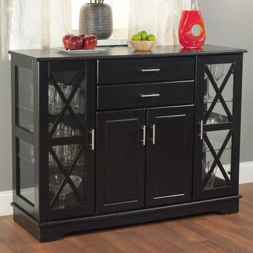 FastFurnishings Black Wood Buffet Dining-room Sideboard with Glass Doors