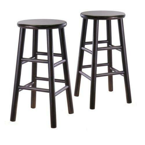 FastFurnishings Set of 2 Backless 24-inch Bar Stools in Espresso Finish
