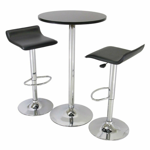 FastFurnishings 3 Piece Modern Dining Set with Bistro Table and Two Stools