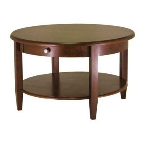 FastFurnishings Circular Wood Coffee Table with Bottom Shelf and Drawer