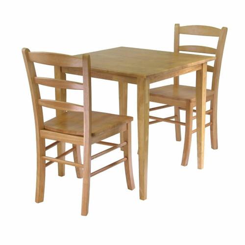 FastFurnishings 3 Piece Wood Dining Set in Light Oak Finish