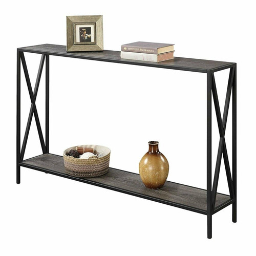 FastFurnishings Weathered Grey Wood Console Sofa Table with Bottom Shelf and Metal Frame