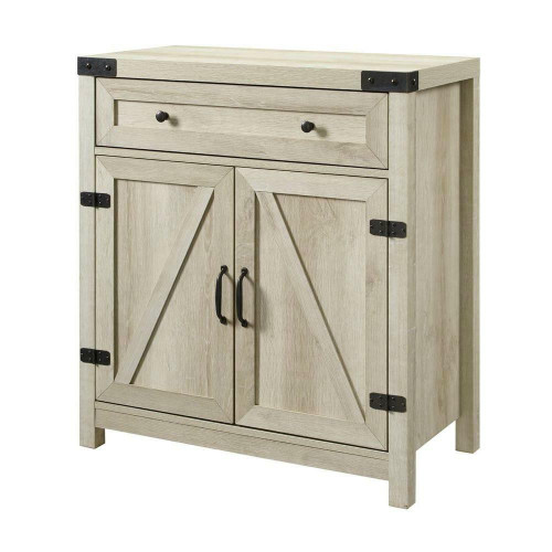 FastFurnishings Rustic Farmhouse Barn Door Accent Storage Cabinet White Oak