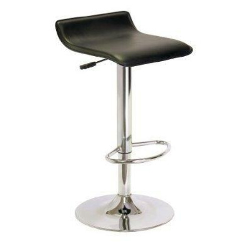 FastFurnishings Contemporary ABS Air-Lift Swivel Bar Stool in Black Faux Leather