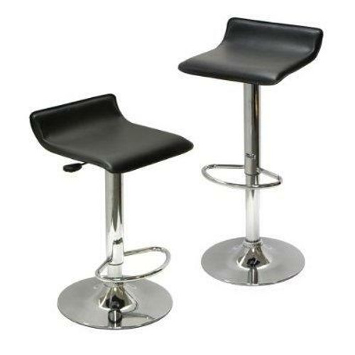 FastFurnishings Set of 2 Modern Air-Lift Adjustable Bar Stools with Black Seat