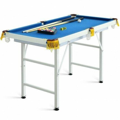 47 Folding Billiard Table Pool Game Table with Cues and Brush Chalk-Blue