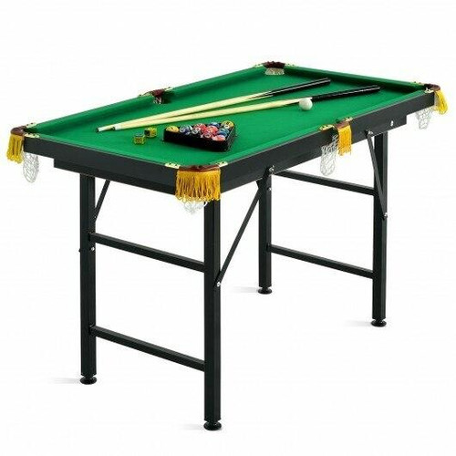 47 Folding Billiard Table Pool Game Table with Cues and Brush Chalk -Green