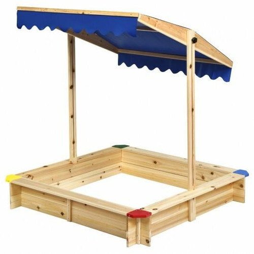 Kids Cedar Square Cabana Wooden Sandbox with Convertible Canopy
