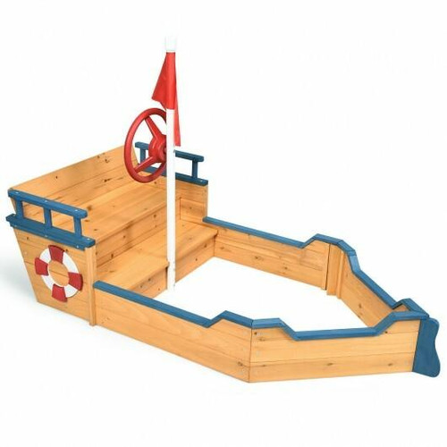 Wooden Pirate Boat Wood Sandbox for Kids