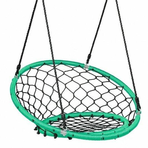 Net Hanging Swing Chair with Adjustable Hanging Ropes-Green