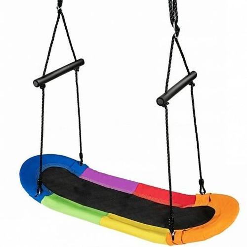 Saucer Tree Swing Surf Kids Outdoor Adjustable Oval Platform Set with Handle-Color