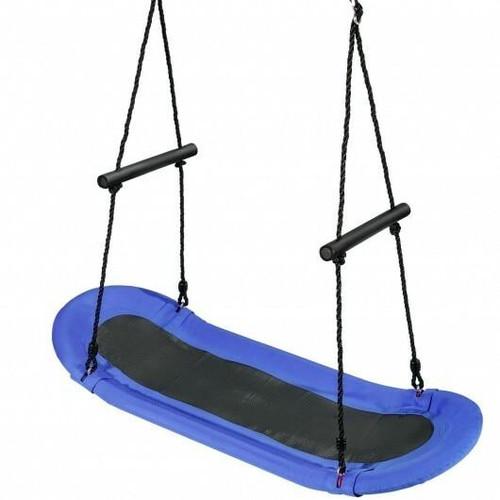 Saucer Tree Swing Surf Kids Outdoor Adjustable Oval Platform Set with Handle-Blue