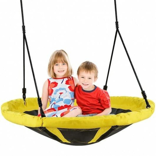 Outdoor Kids 40 Flying Saucer Round Tree Swing Play Set with Adjustable Ropes